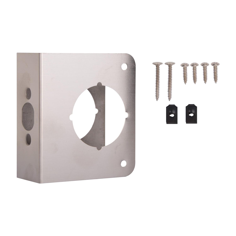 Picture of ProSource HSH-044SBN-PS Door Reinforcer, 2-3/8 in Backset, 1-3/4 in Thick Door, Steel, Satin Nickel, 4-1/2 in H