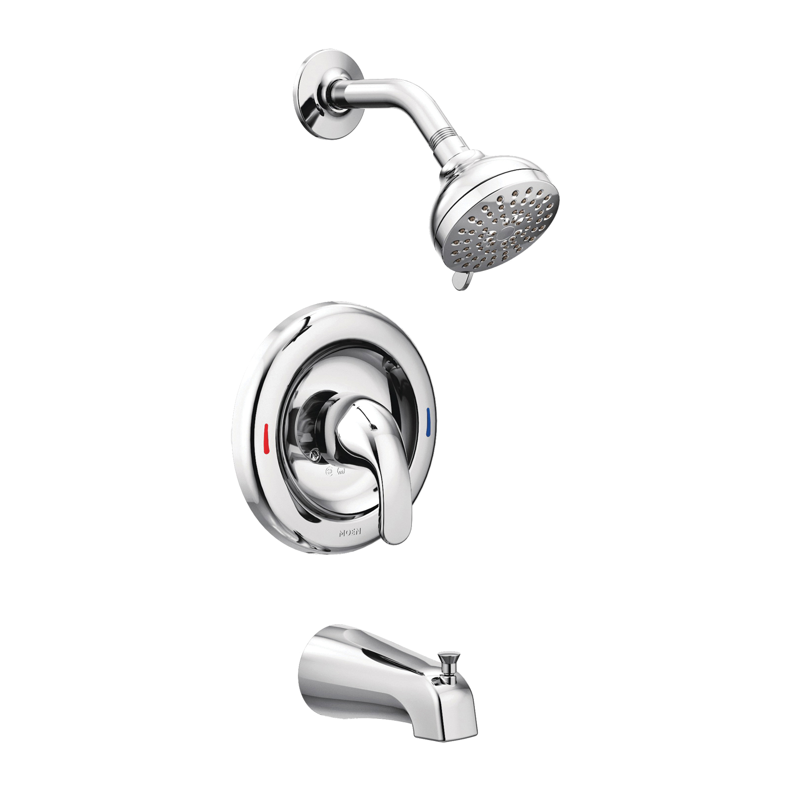Picture of Moen Adler 82603 Tub/Shower Faucet, 1.75 gpm Showerhead, 1-Handle, Metal, Chrome