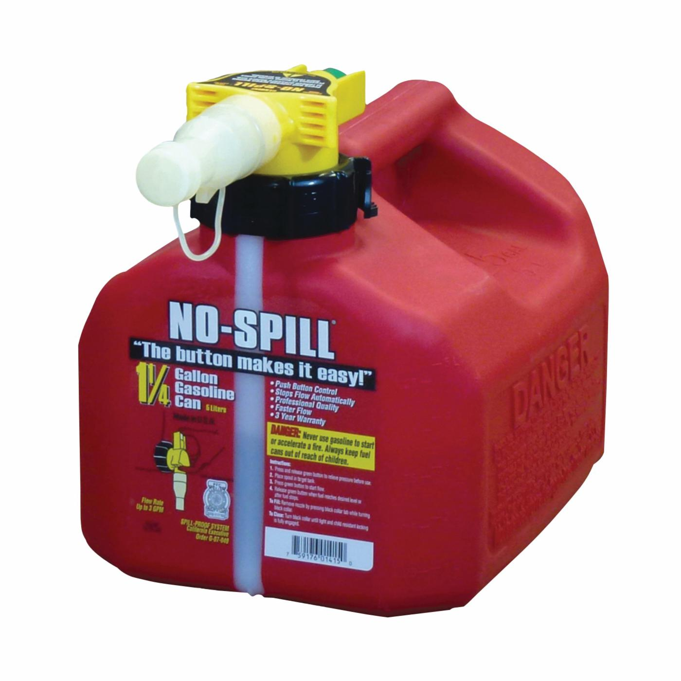 Picture of No-Spill 1415 Gas Can, 1.25 gal Capacity, Plastic, Red