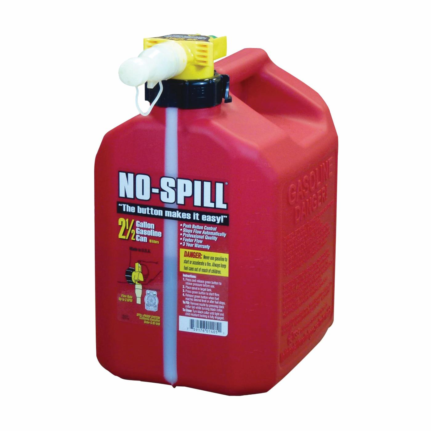 Picture of No-Spill 1405 Gas Can, 2.5 gal Capacity, Plastic, Red