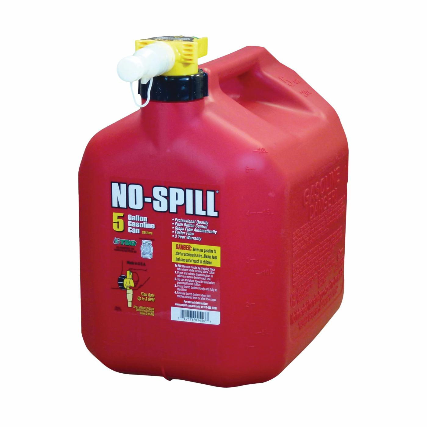 Picture of No-Spill 1450 Gas Can, 5 gal Capacity, Plastic, Red