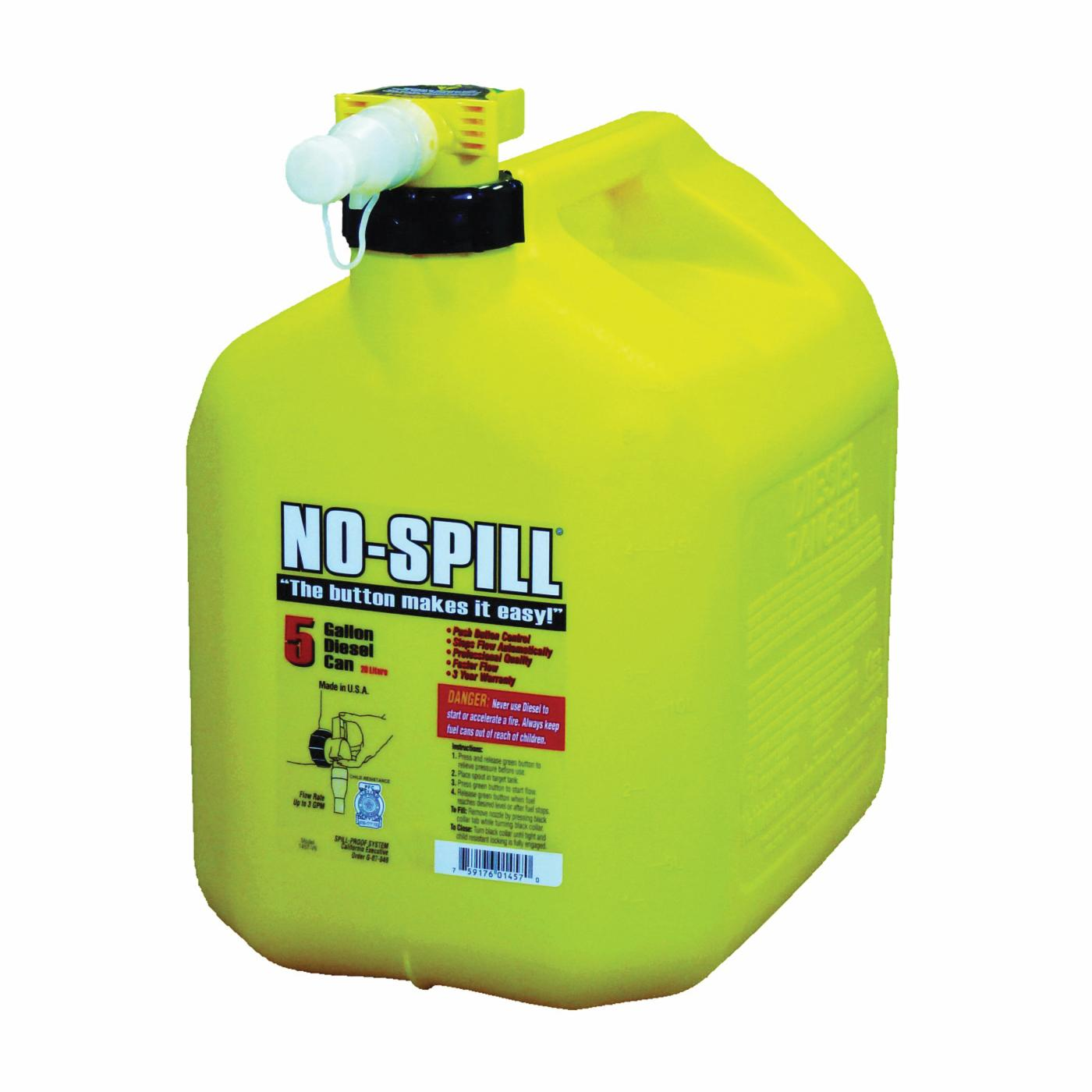 Picture of No-Spill 1457 Diesel Gas Can, 5 gal Package, Plastic, Yellow