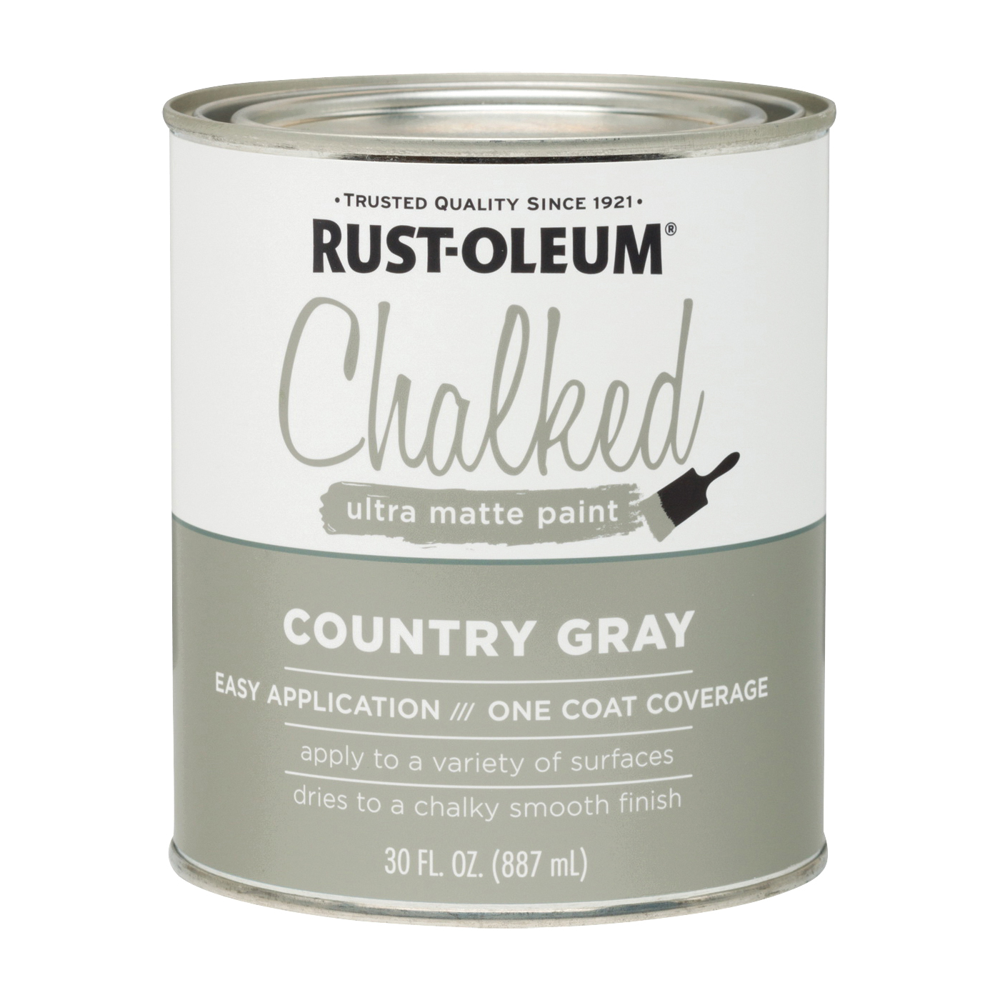 Picture of RUST-OLEUM Chalked 285141 Chalked Paint, Ultra Matte, Country Gray, 30 oz, Pint