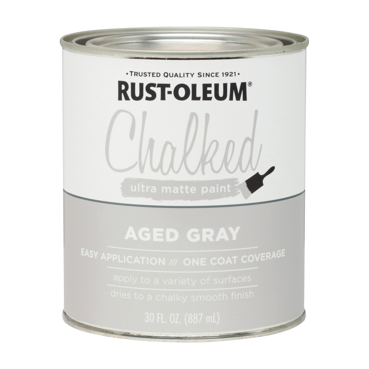 Picture of RUST-OLEUM Chalked 285143 Chalked Paint, Ultra Matte, Aged Gray, 30 oz, Pint