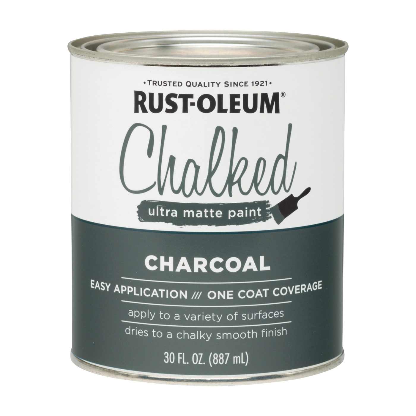 Picture of RUST-OLEUM Chalked 285144 Chalked Paint, Ultra Matte, Charcoal, 30 oz, Pint