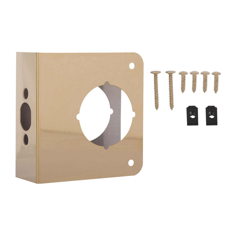 Picture of ProSource HSH-046SBP-PS Door Reinforcer, 2-3/8 in Backset, 1-3/4 in Thick Door, Steel, Brass, 4-1/2 in H, 4 in W