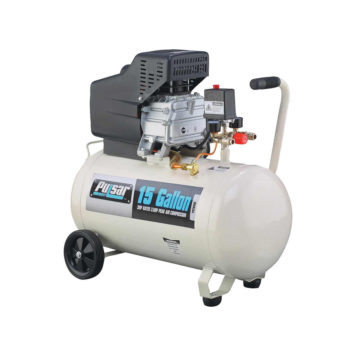 Picture of PULSAR PCE6150 Air Compressor, 15 gal Tank, 3.5 hp, 120 V, 115 psi Pressure, 5.2 cfm Air