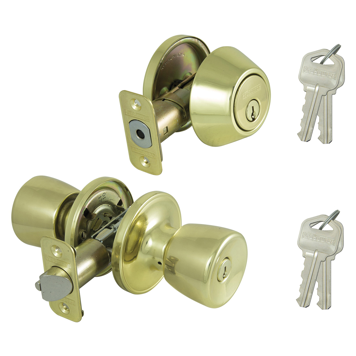 Picture of Prosource BS721BRA4F Deadbolt and Entry Lockset, Keyed Alike Key, Brass