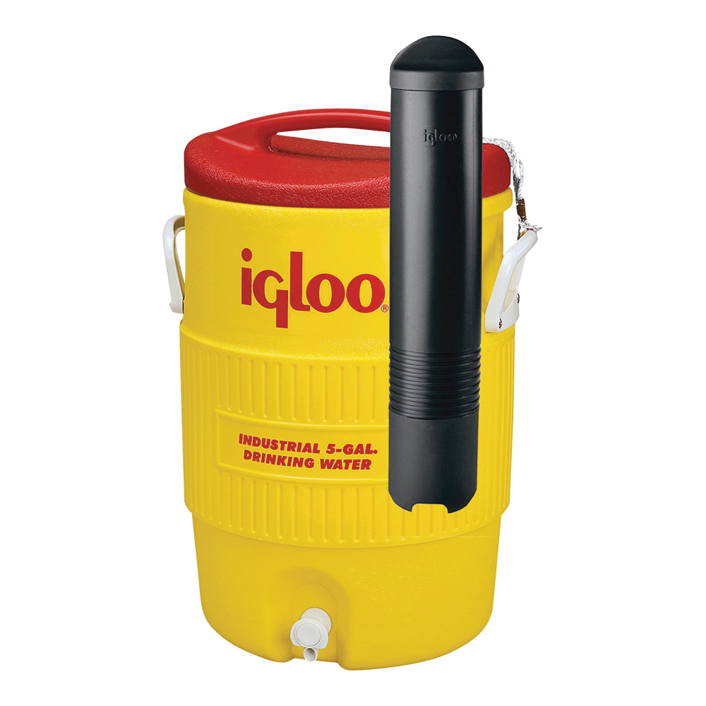 Picture of IGLOO 11863 Water Cooler, 5 gal Tank, Drip-Resistant, Recessed Spigot, Plastic, Red/Yellow