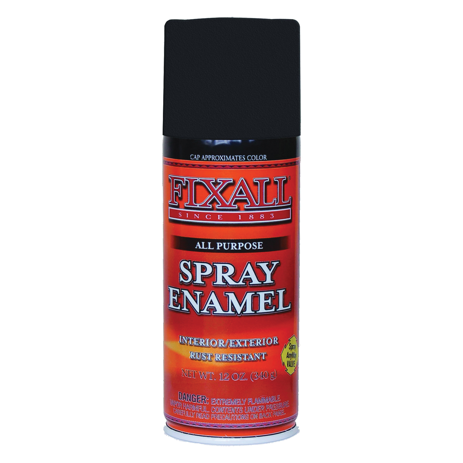 Picture of FixALL F1303 Enamel Spray Paint, Flat, Black, Can