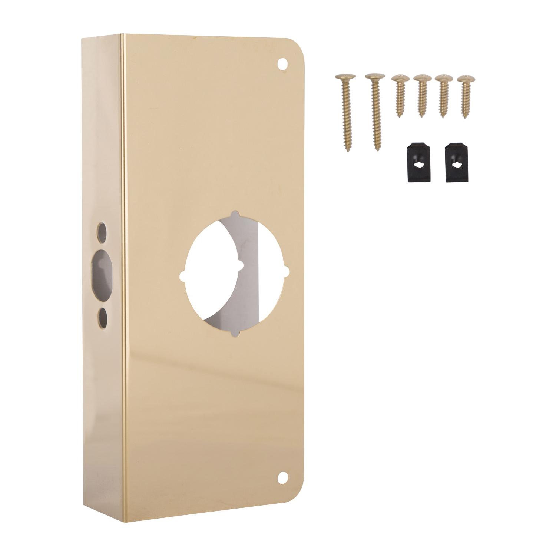 Picture of ProSource HSH-050SBP-PS Door Reinforcer, 2-3/8 in Backset, 1-3/4 in Thick Door, Steel, Brass, 9 in H, 4 in W