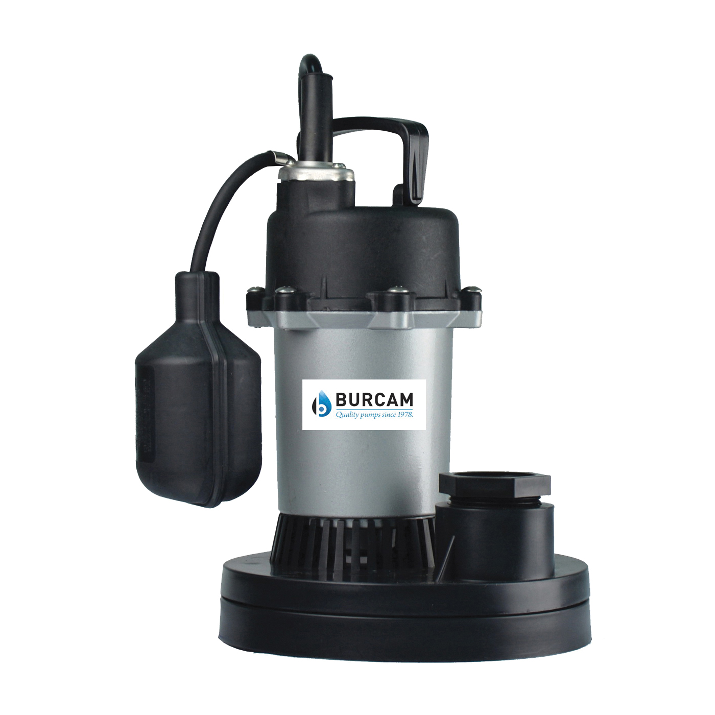 Picture of Burcam 300500Z Sump Pump, 4 A, 115 V, 0.33 hp, 1-1/2 in Outlet, 18 ft Max Head, 1450 gph, Noryl