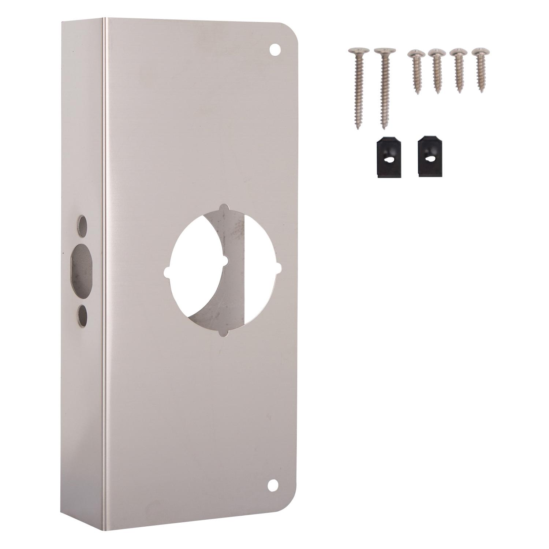 Picture of ProSource HSH-050SBN-PS Door Reinforcer, 2-3/8 in Backset, 1-3/4 in Thick Door, Steel, Satin Nickel, 9 in H