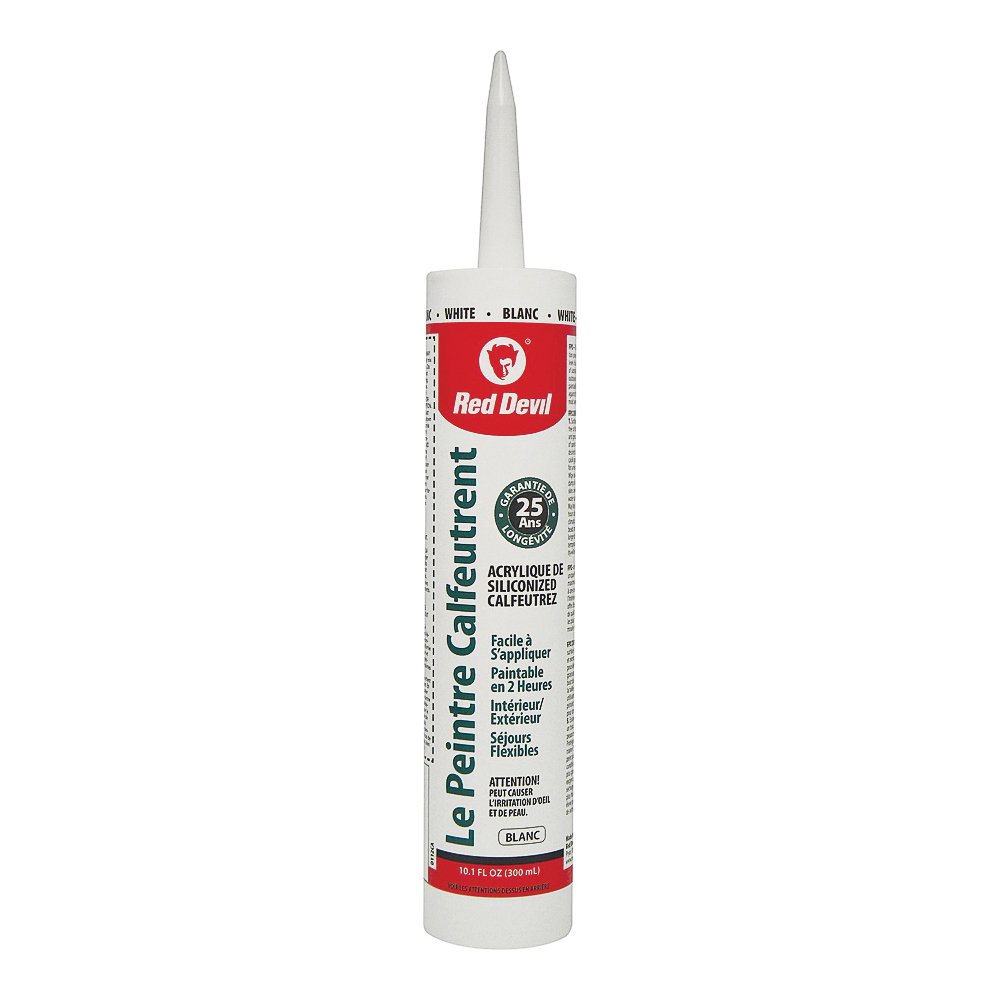 Picture of Red Devil 00112CA Acrylic Latex Caulk, White, 10.1 oz Package, Cartridge