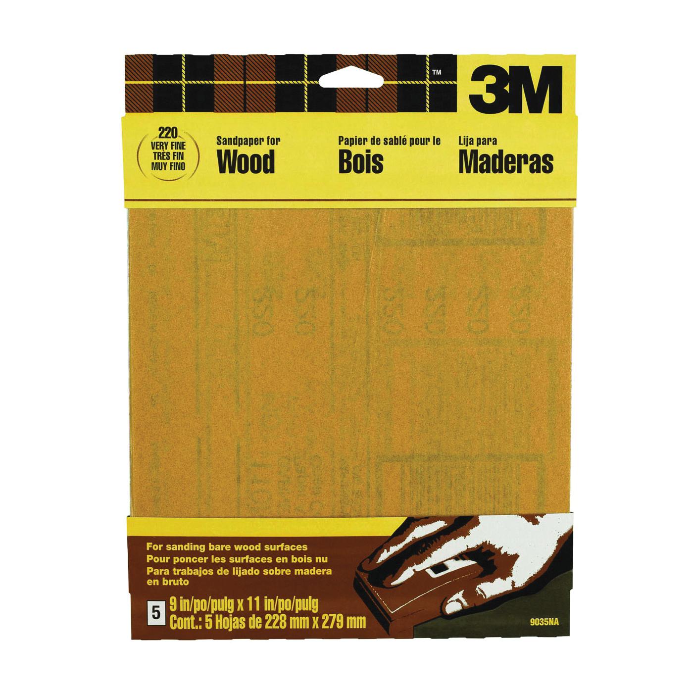 Picture of 3M 9035 Sanding Sheet, 11 in L, 9 in W, Very Fine, Garnet Abrasive