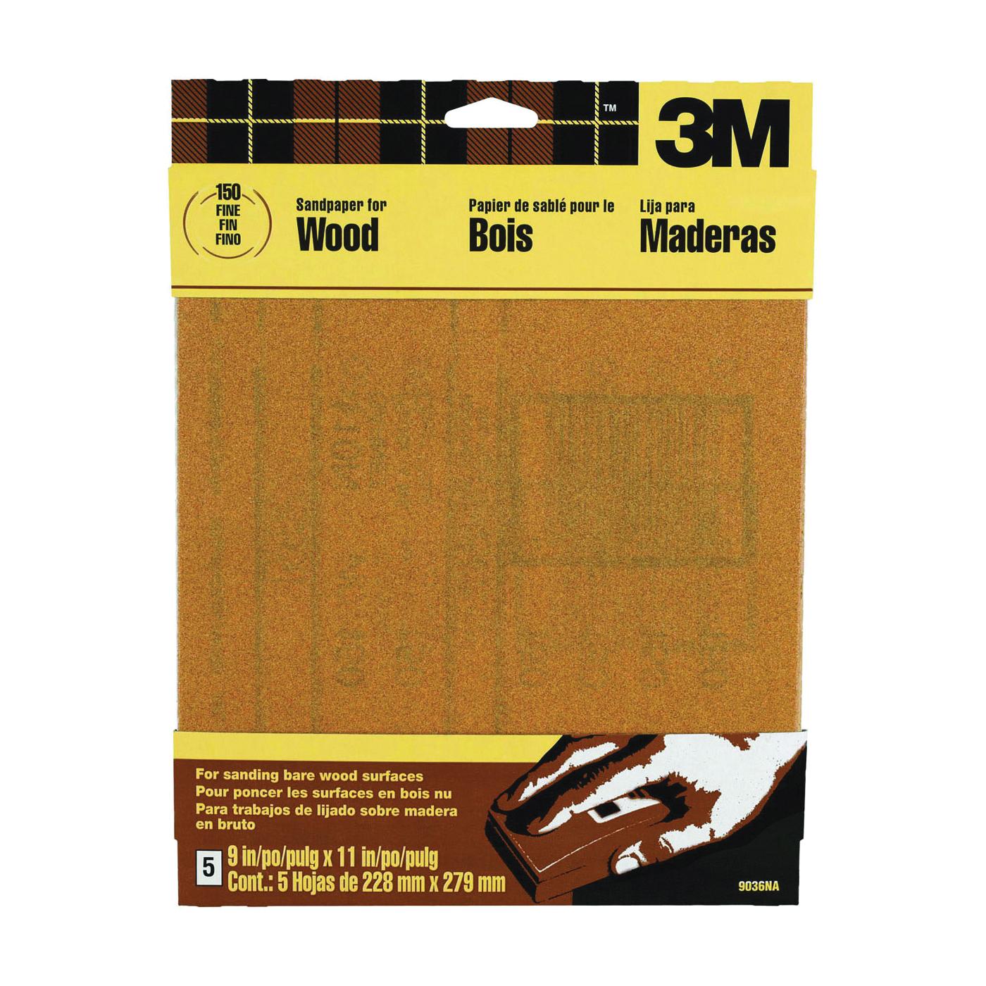 Picture of 3M 9036 Sanding Sheet, 11 in L, 9 in W, Fine, 150 Grit, Garnet Abrasive