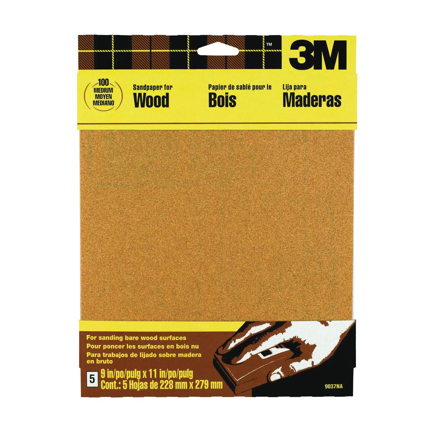 Picture of 3M 9037 Sanding Sheet, 11 in L, 9 in W, Medium, 100 Grit, Garnet Abrasive