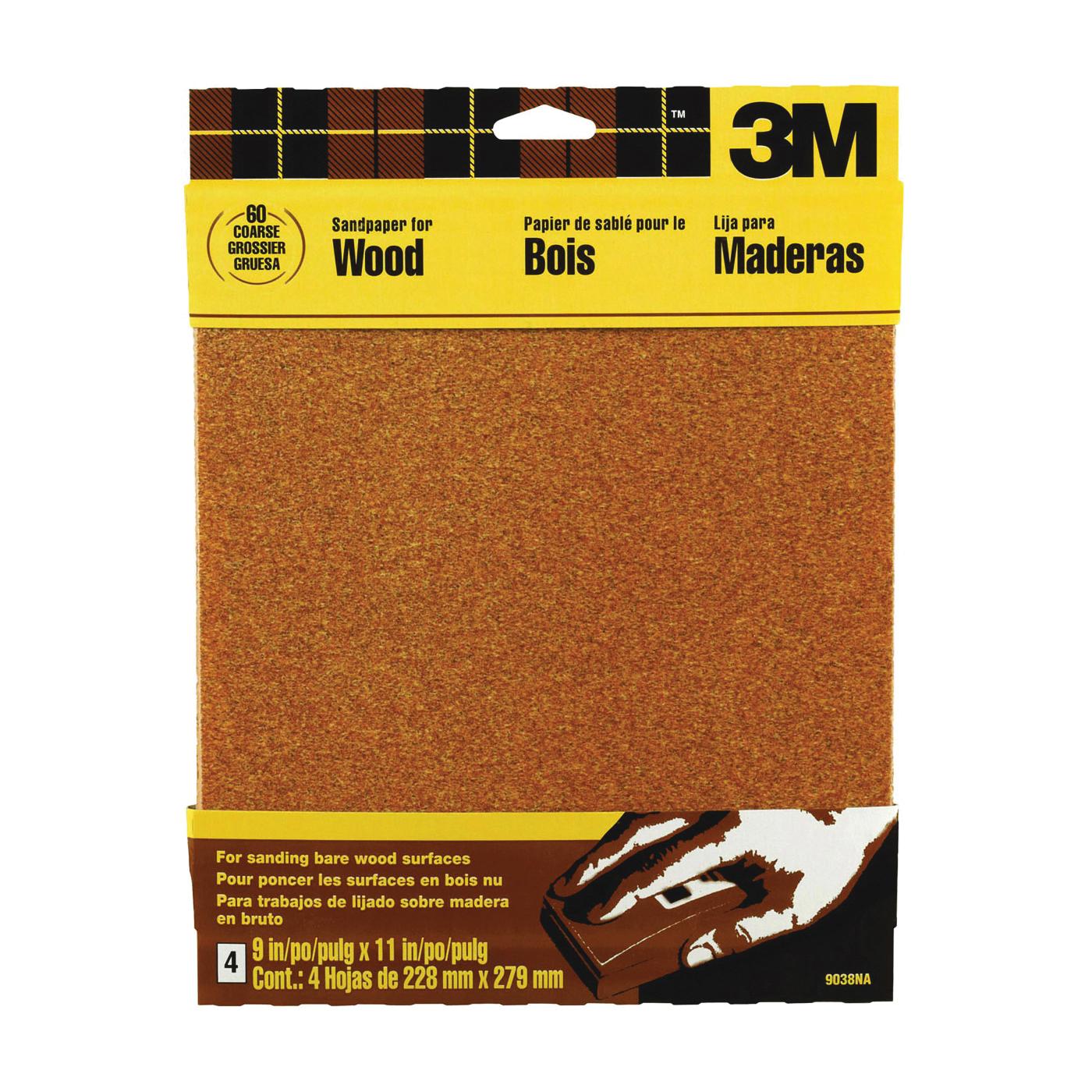 Picture of 3M 9038NA Sanding Sheet, 11 in L, 9 in W, Coarse, 60 Grit, Garnet Abrasive
