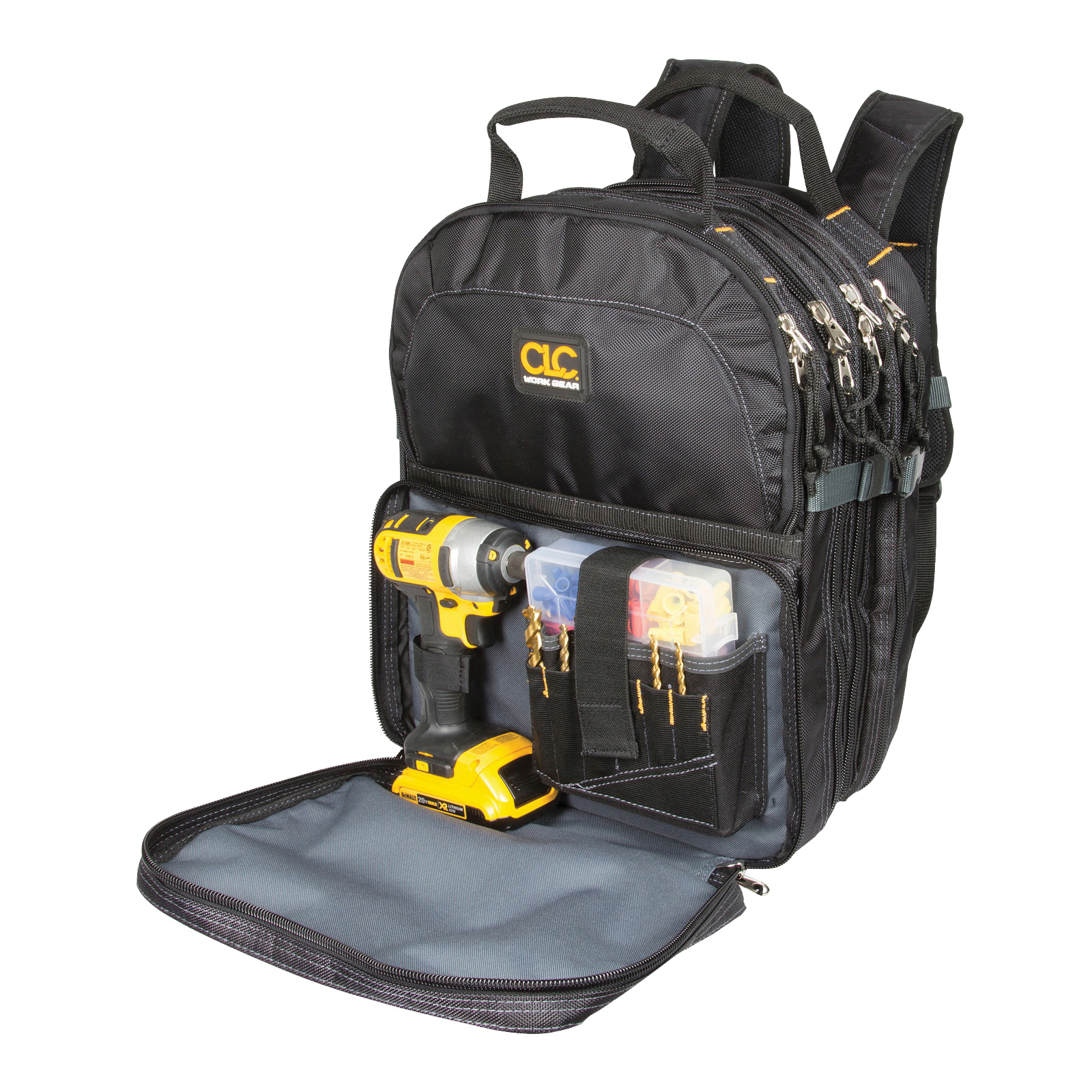 Picture of CLC 1132 Backpack, 13 in W, 9 in D, 17-1/2 in H, 75 -Pocket, Polyester, Black