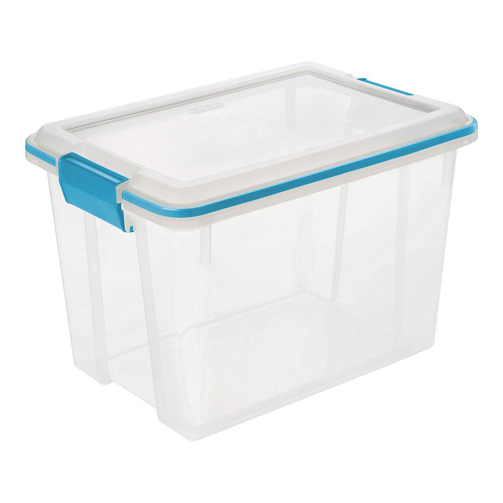 Picture of Sterilite 19324306 Gasket Box, Plastic, Blue Aquarium/Clear, 16-1/8 in L, 11-1/4 in W, 10-7/8 in H