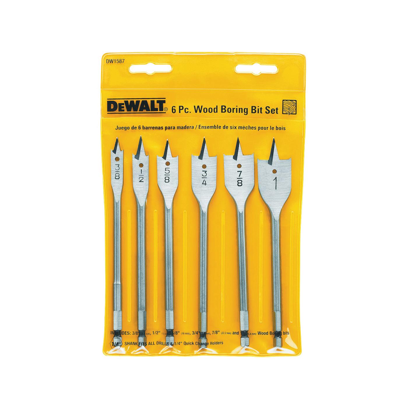 Picture of DeWALT DW1587 Spade Bit Set, Heavy-Duty, 6 -Piece, Carbon Steel