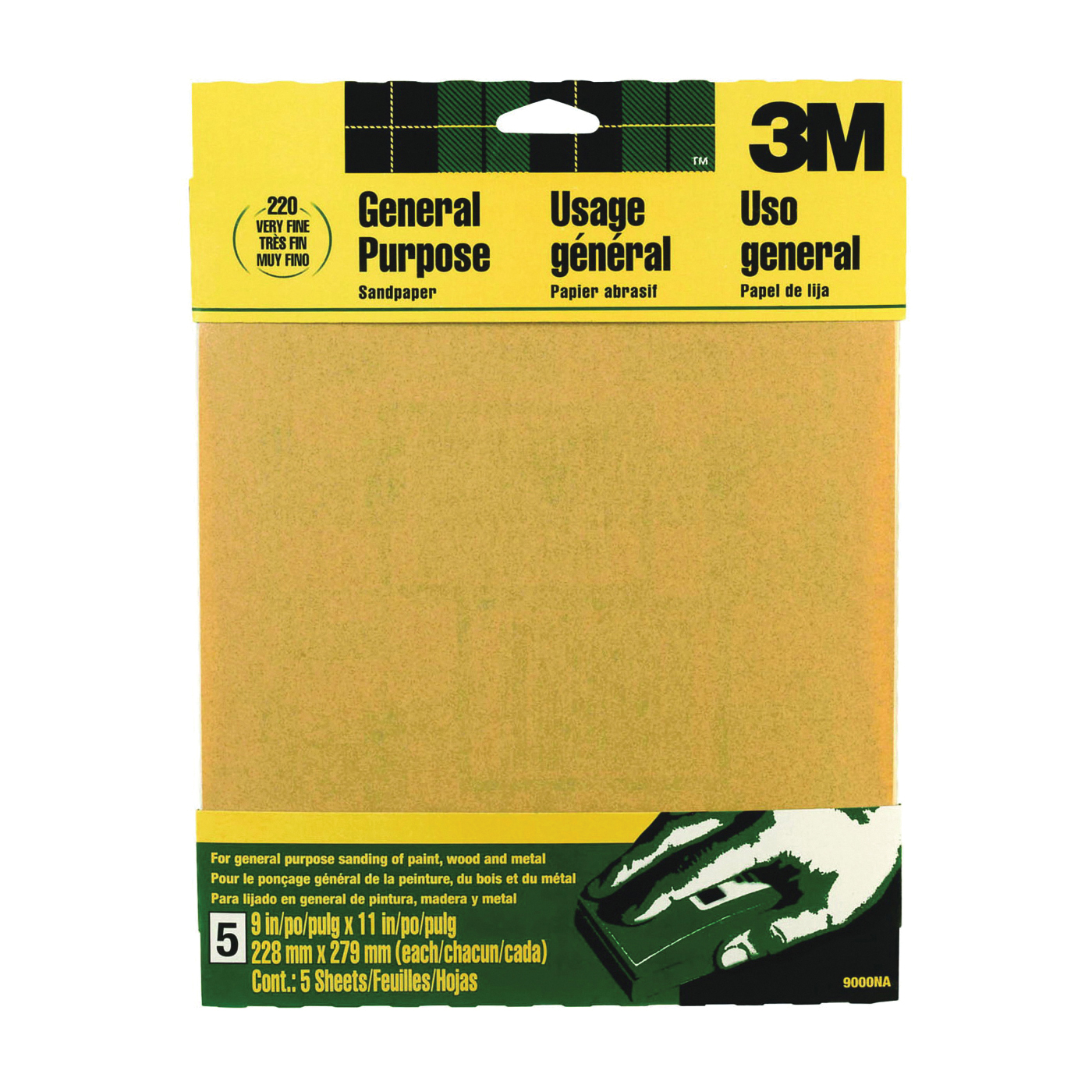 Picture of 3M 9000NA Sanding Sheet, 11 in L, 9 in W, Very Fine, 220 Grit, Aluminum Oxide Abrasive, Paper Backing