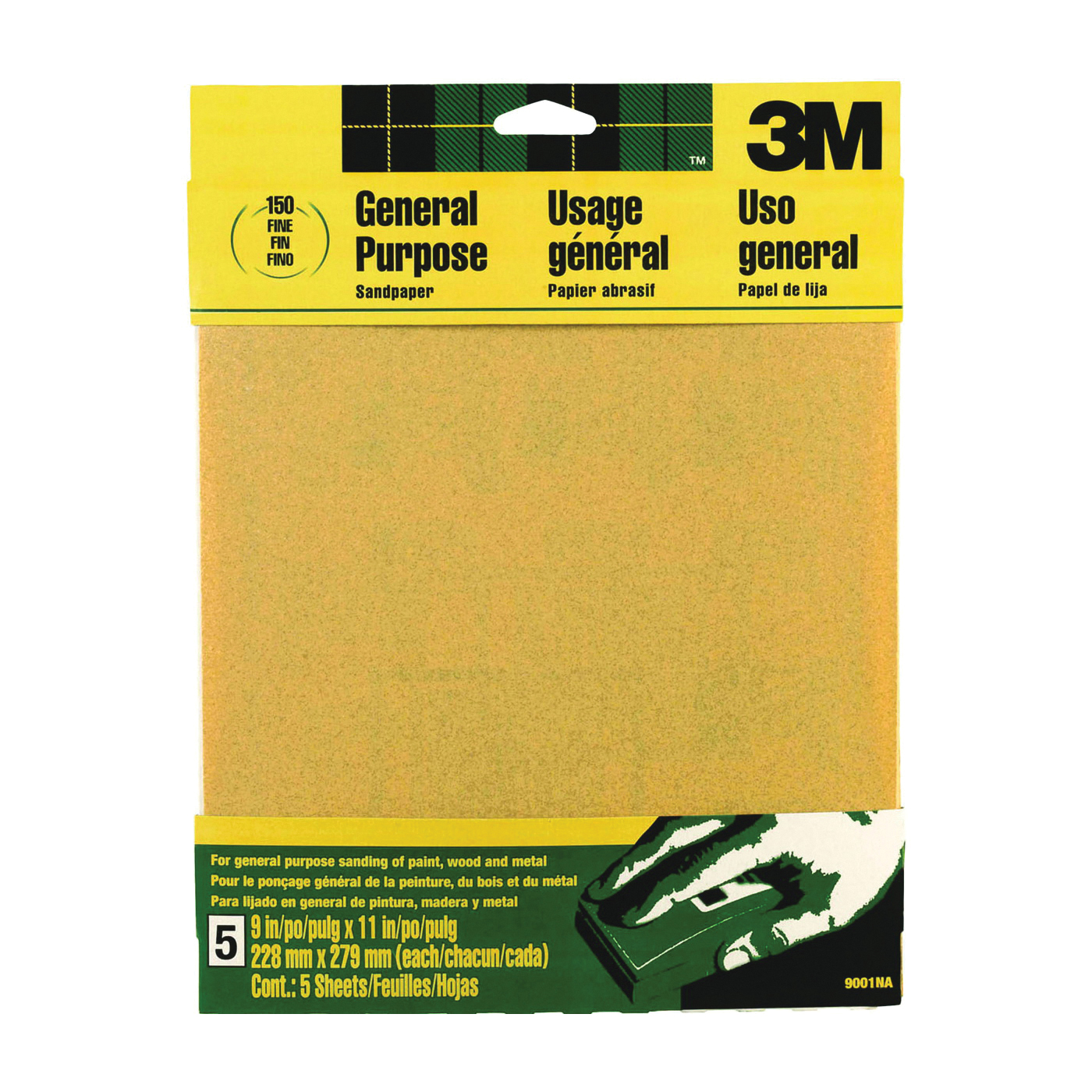 Picture of 3M 9001 Sanding Sheet, 11 in L, 9 in W, Fine, 150 Grit, Aluminum Oxide Abrasive, Paper Backing