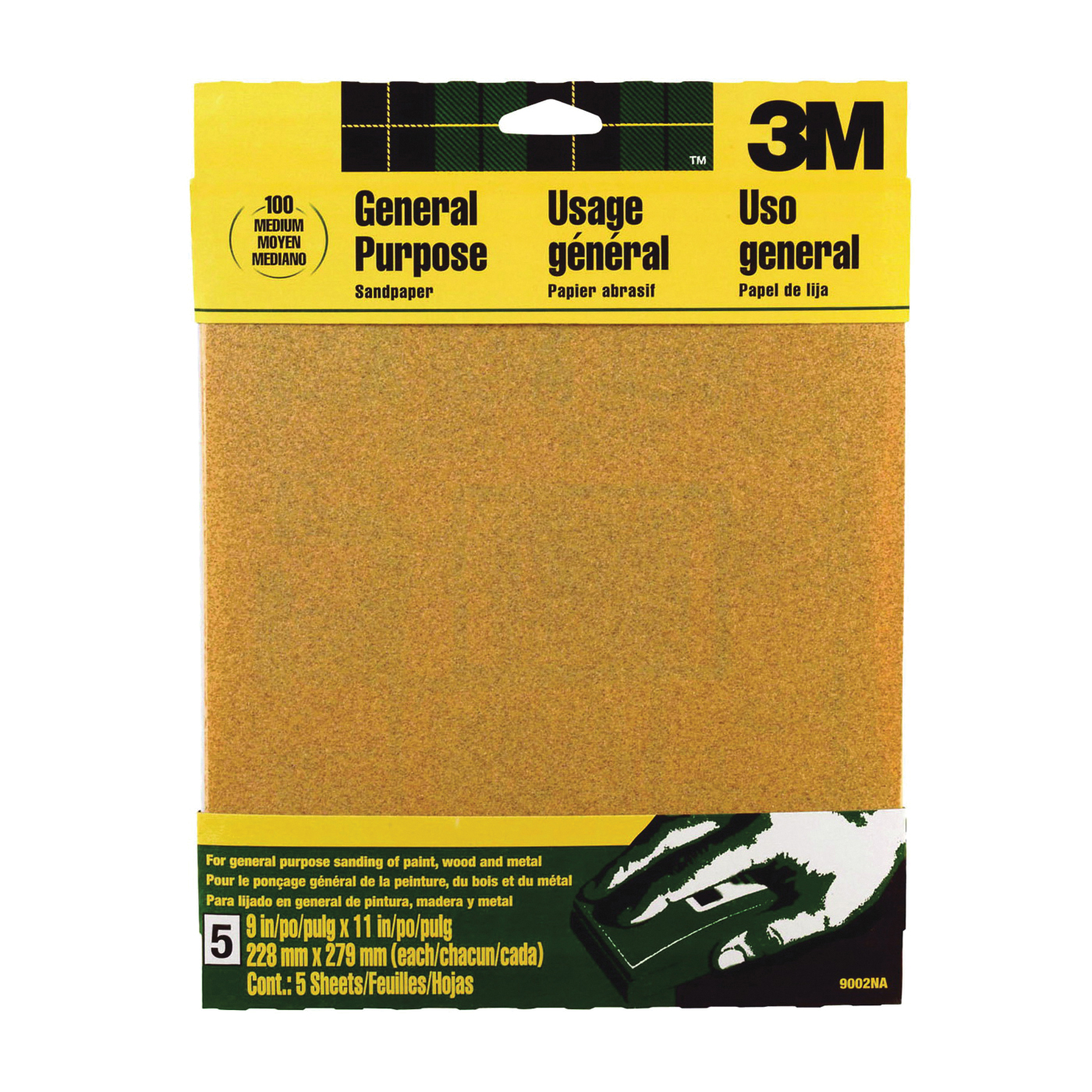 Picture of 3M 9002 Sanding Sheet, 11 in L, 9 in W, Medium, 100 Grit, Aluminum Oxide Abrasive, Paper Backing