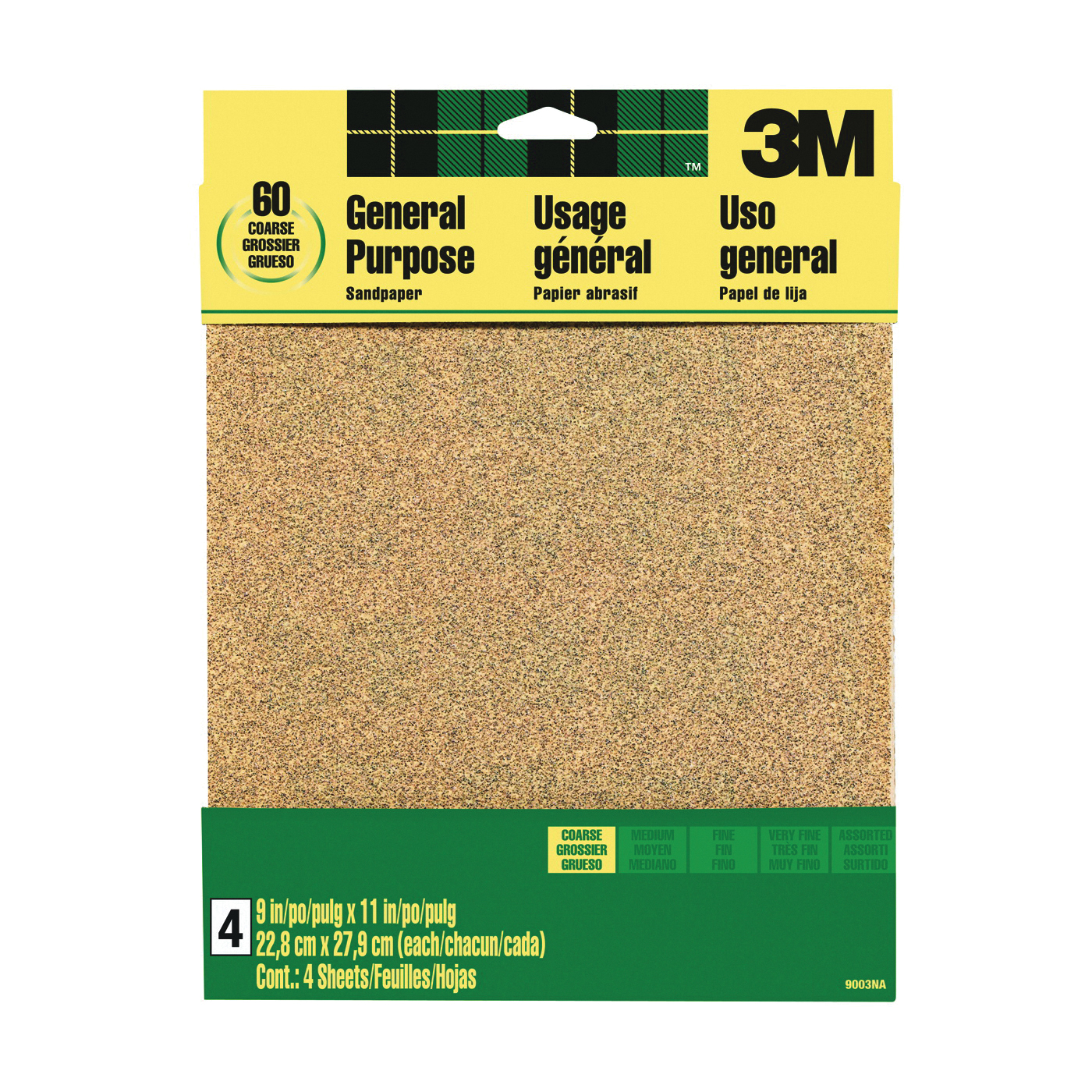 Picture of 3M 9003 Sanding Sheet, 11 in L, 9 in W, Coarse, 60 Grit, Aluminum Oxide Abrasive, Paper Backing