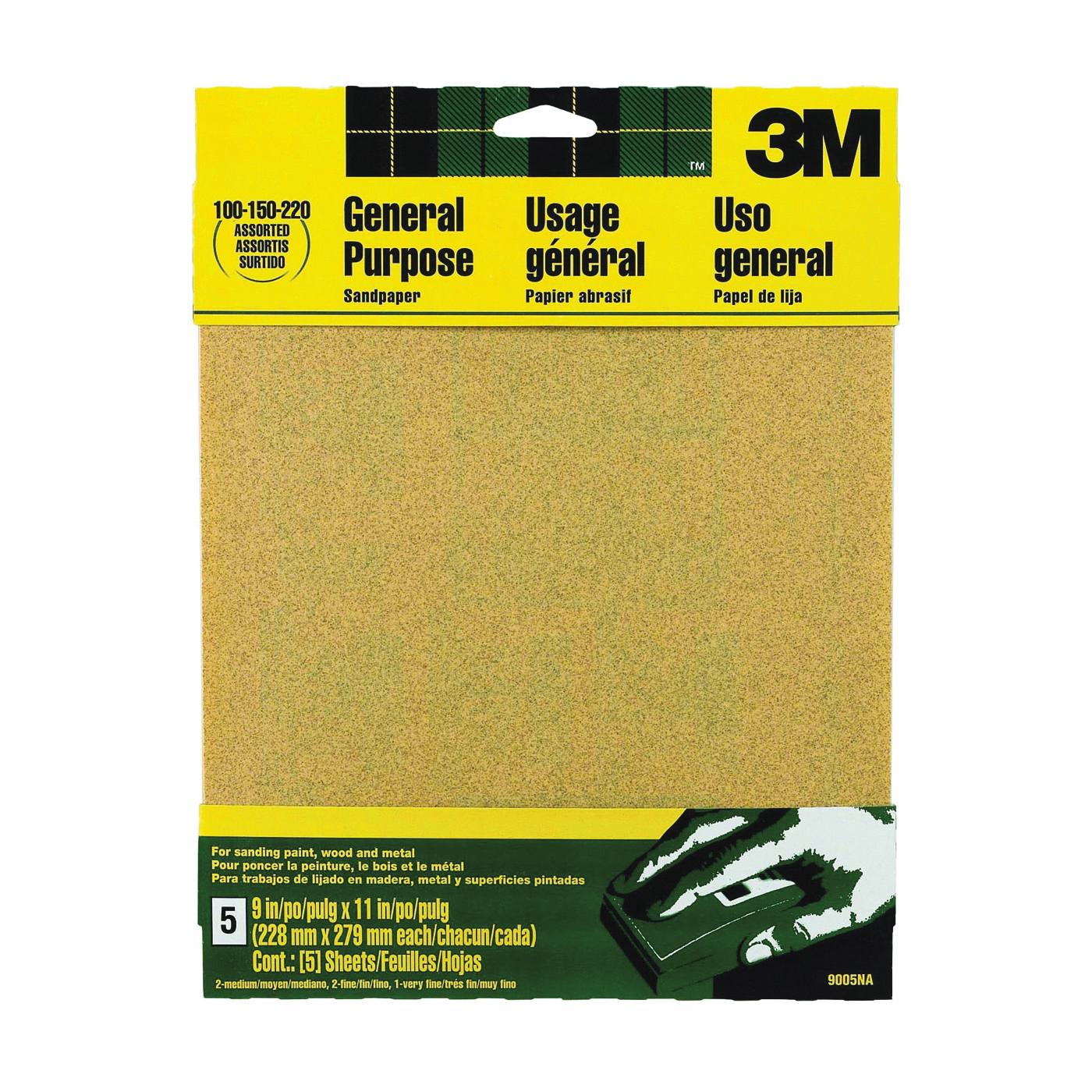 Picture of 3M 9005 Sanding Sheet, 11 in L, 9 in W, Aluminum Oxide Abrasive, Paper Backing
