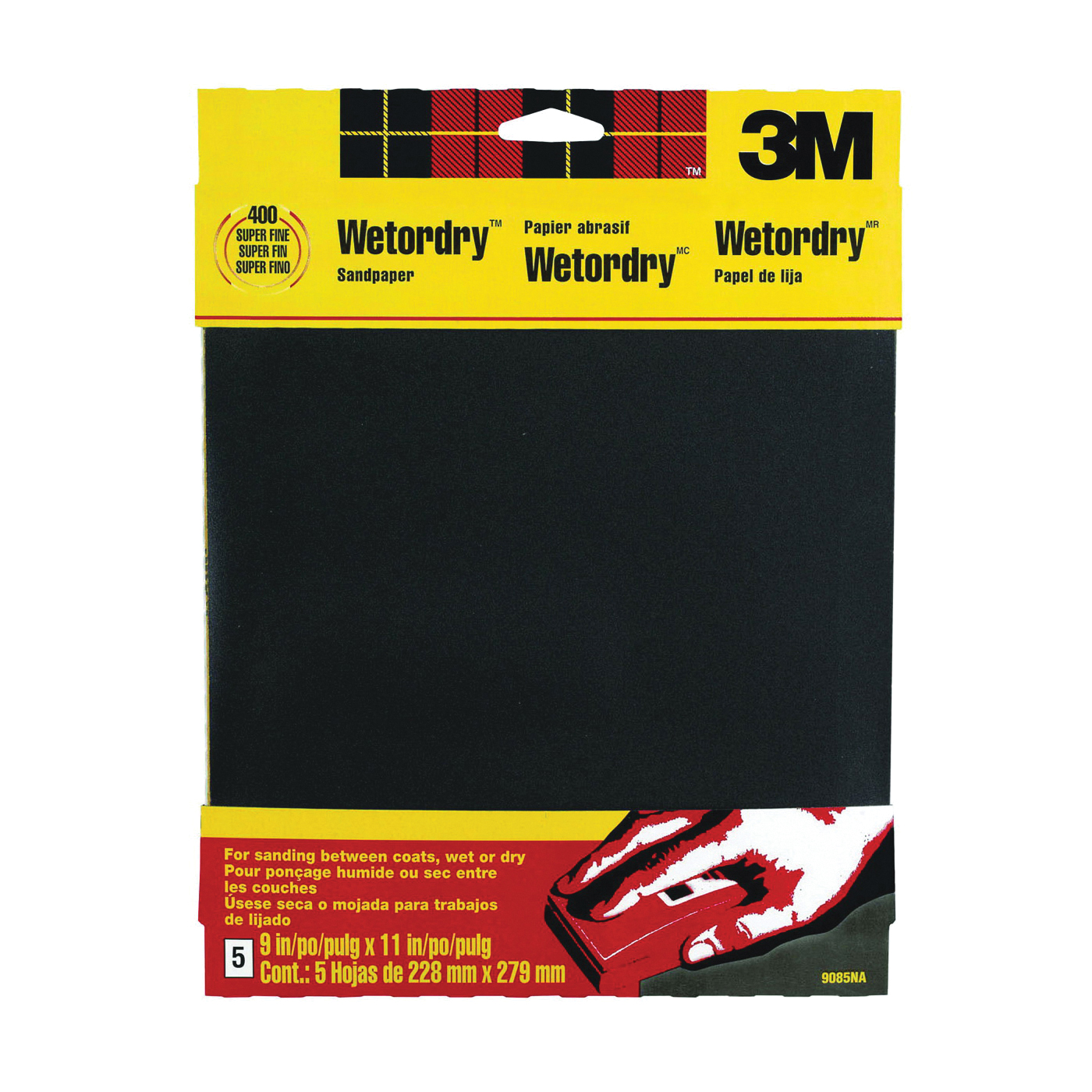 Picture of 3M 9085 Sandpaper, 11 in L, 9 in W, 400 Grit, Super Fine, Silicone Carbide Abrasive