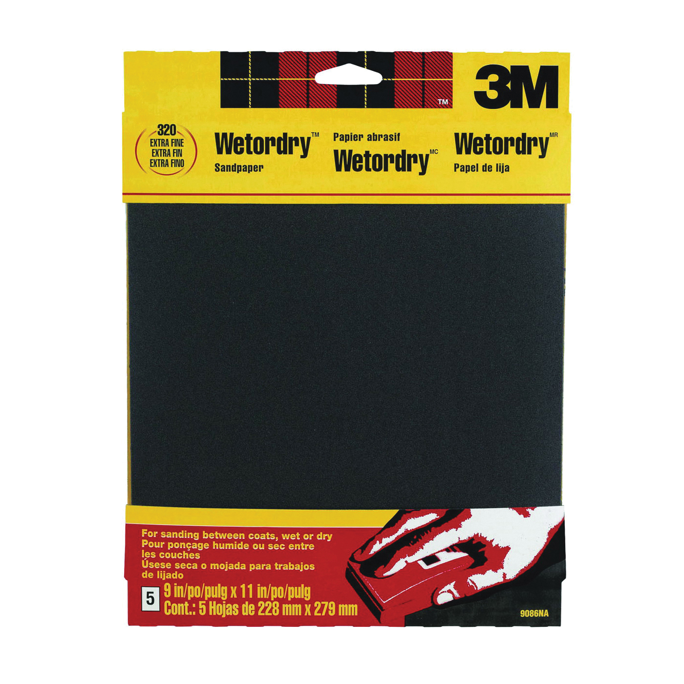 Picture of 3M 9086 Sandpaper, 11 in L, 9 in W, 320 Grit, Extra Fine, Silicone Carbide Abrasive