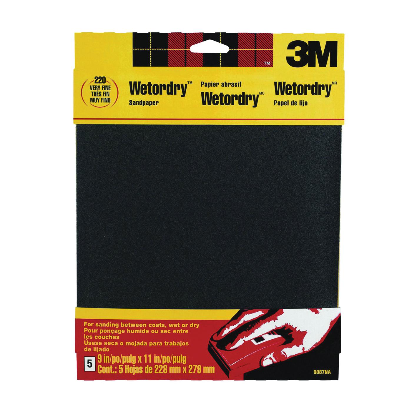 Picture of 3M 9087 Sandpaper, 11 in L, 9 in W, 220 Grit, Very Fine, Silicone Carbide Abrasive