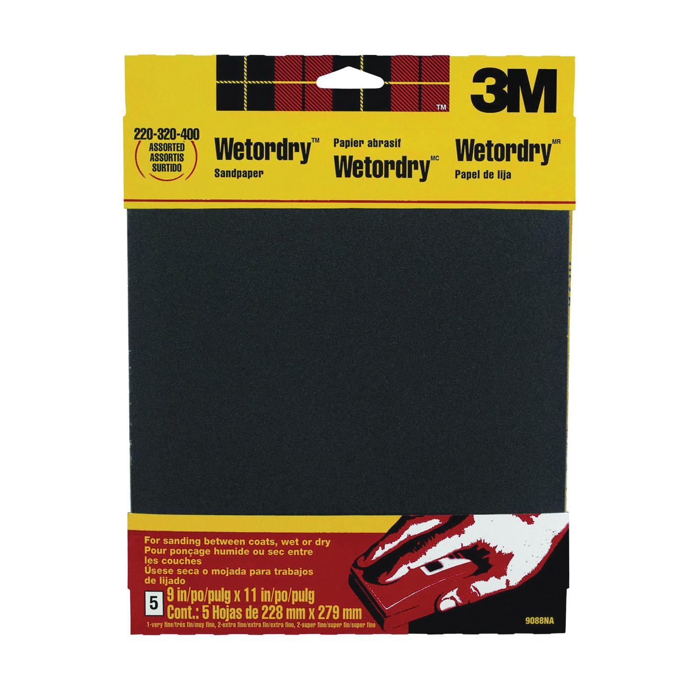 Picture of 3M 9088 Sandpaper, 11 in L, 9 in W, Extra Fine/Super Fine/Very Fine, Silicone Carbide Abrasive