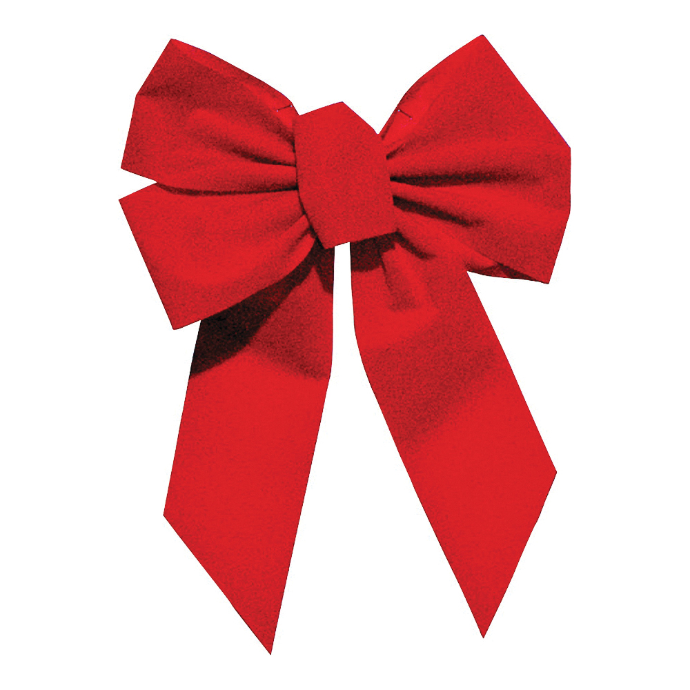 Picture of Holidaytrims 7346 5-Loop Outdoor Bow, 1 in H, Velvet, Red