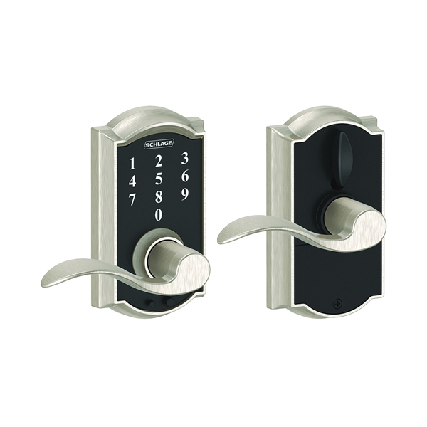 Picture of Schlage Camelot FE695VCAMXACC619 Keypad Lock, Satin Nickel, 2-3/8 x 2-3/4 in Backset, 1-3/8 to 1-3/4 in Thick Door