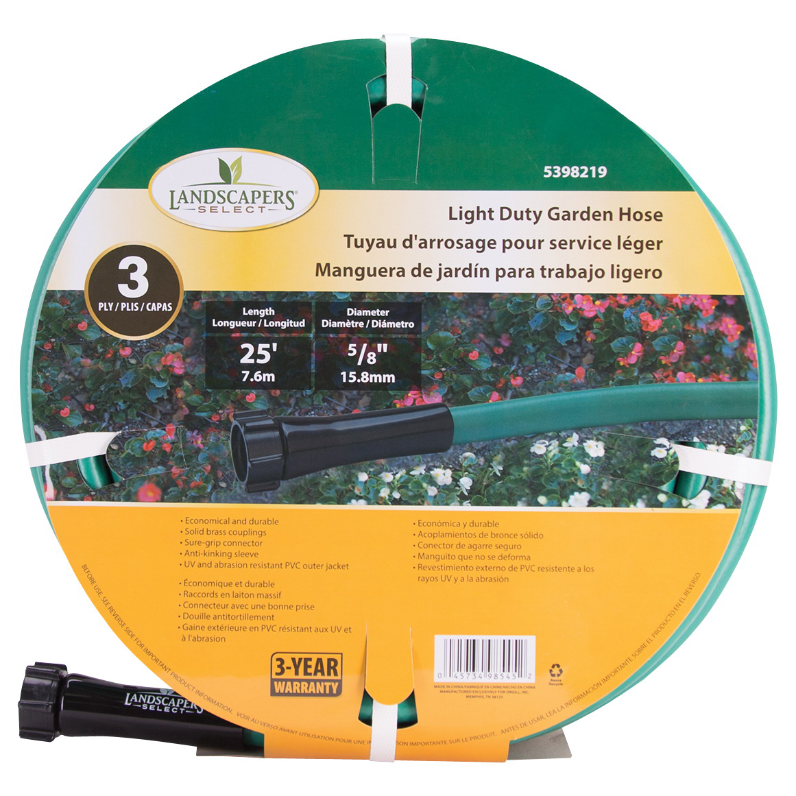 Picture of Landscapers Select GH-585013L Garden Hose, 25 ft L, Female x Male, PVC, Green
