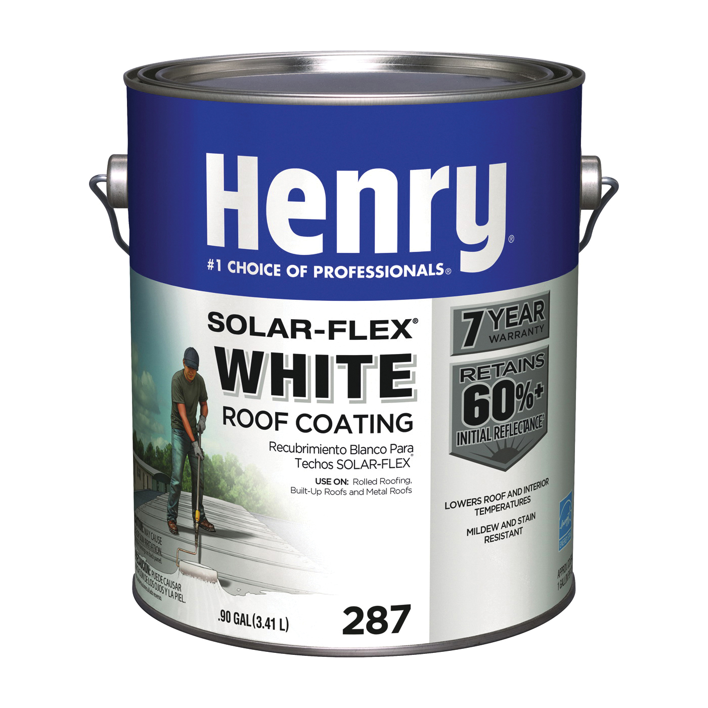 Picture of Henry HE287SF046 Elastomeric Roof Coating, White, 0.9 gal, Pail, Cream