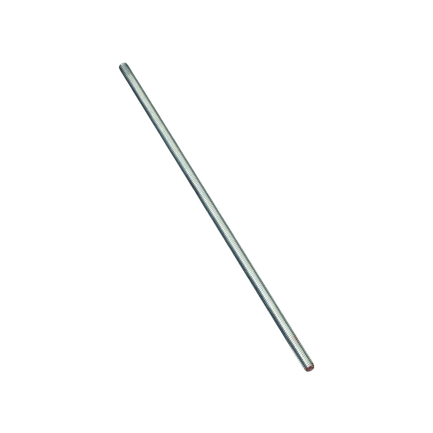 Picture of Stanley Hardware 179325 Threaded Rod, 5/16-18 Thread, 12 in L, A Grade, Steel, Zinc, UNC Thread