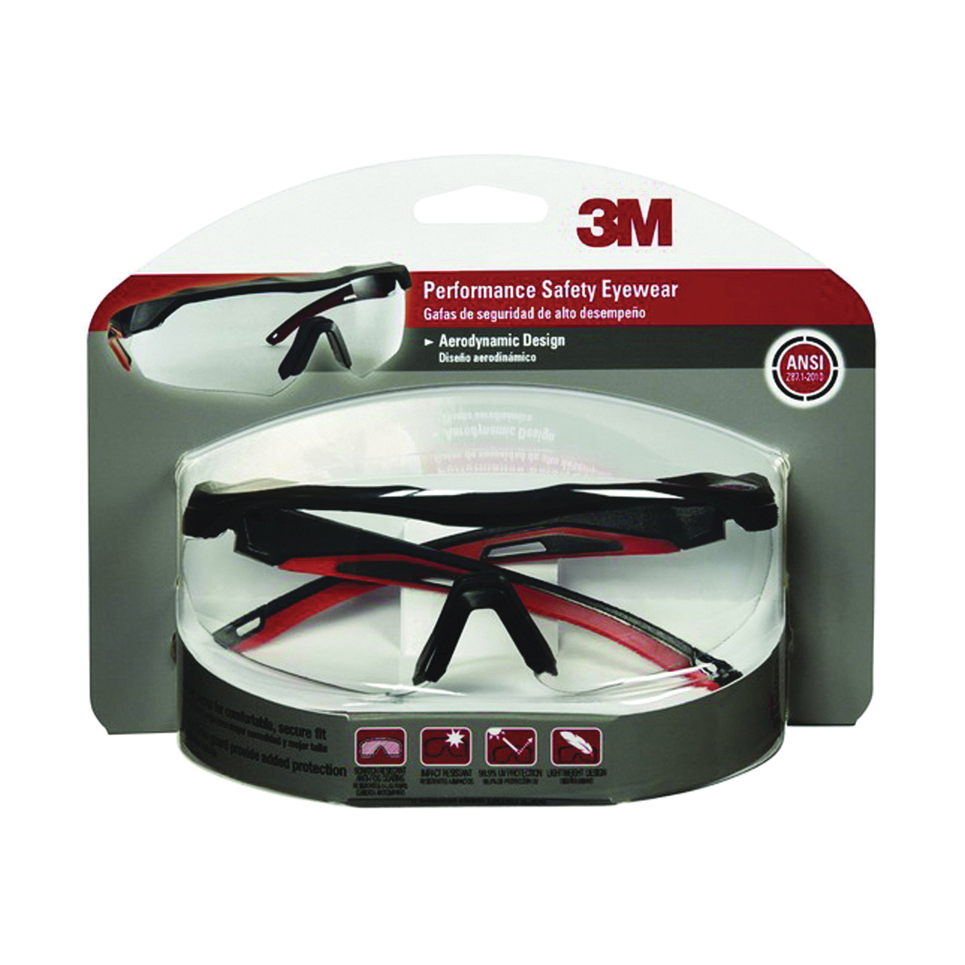 Picture of 3M 47090-WZ4 Safety Glasses, Anti-Fog, Anti-Scratch Lens, Wraparound Frame, Black/Red Frame