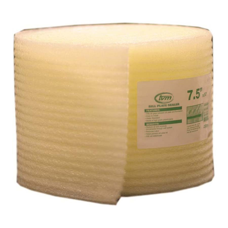 Picture of TVM 75075 Sill Seal, 7-1/2 in W, 50 ft L Roll, Polyethylene, Yellow