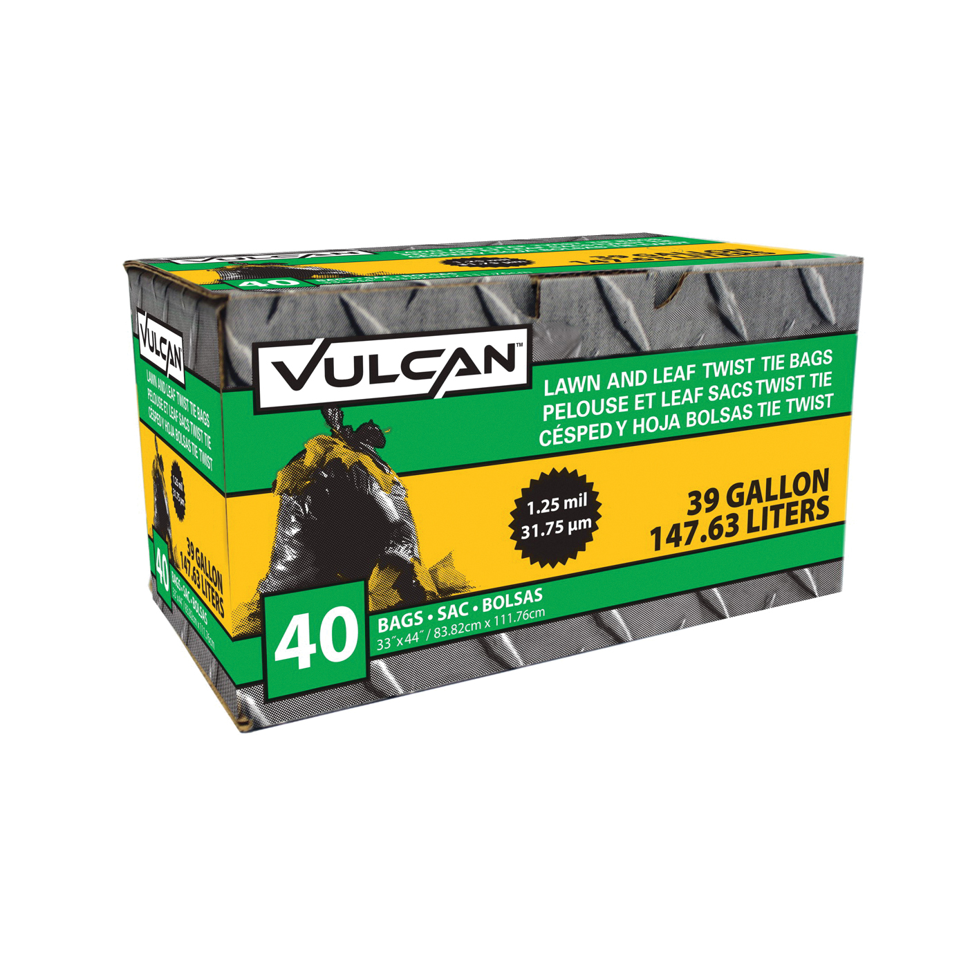 Picture of VULCAN FG-03812-05 Lawn and Leaf Bag, 39 gal Capacity, Black