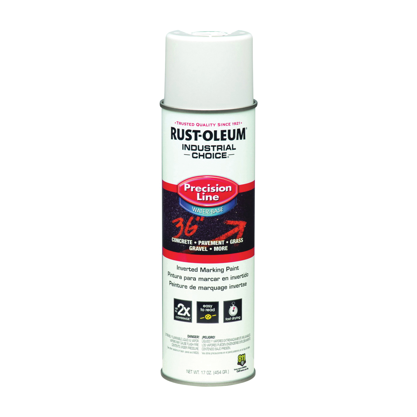 Picture of RUST-OLEUM INDUSTRIAL CHOICE 203039 Marking Paint, White, 17 oz, Aerosol Can