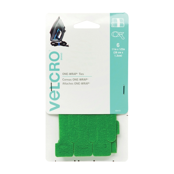 Picture of VELCRO Brand One Wrap 90472 Fastener, 1/2 in W, 11 in L, Green