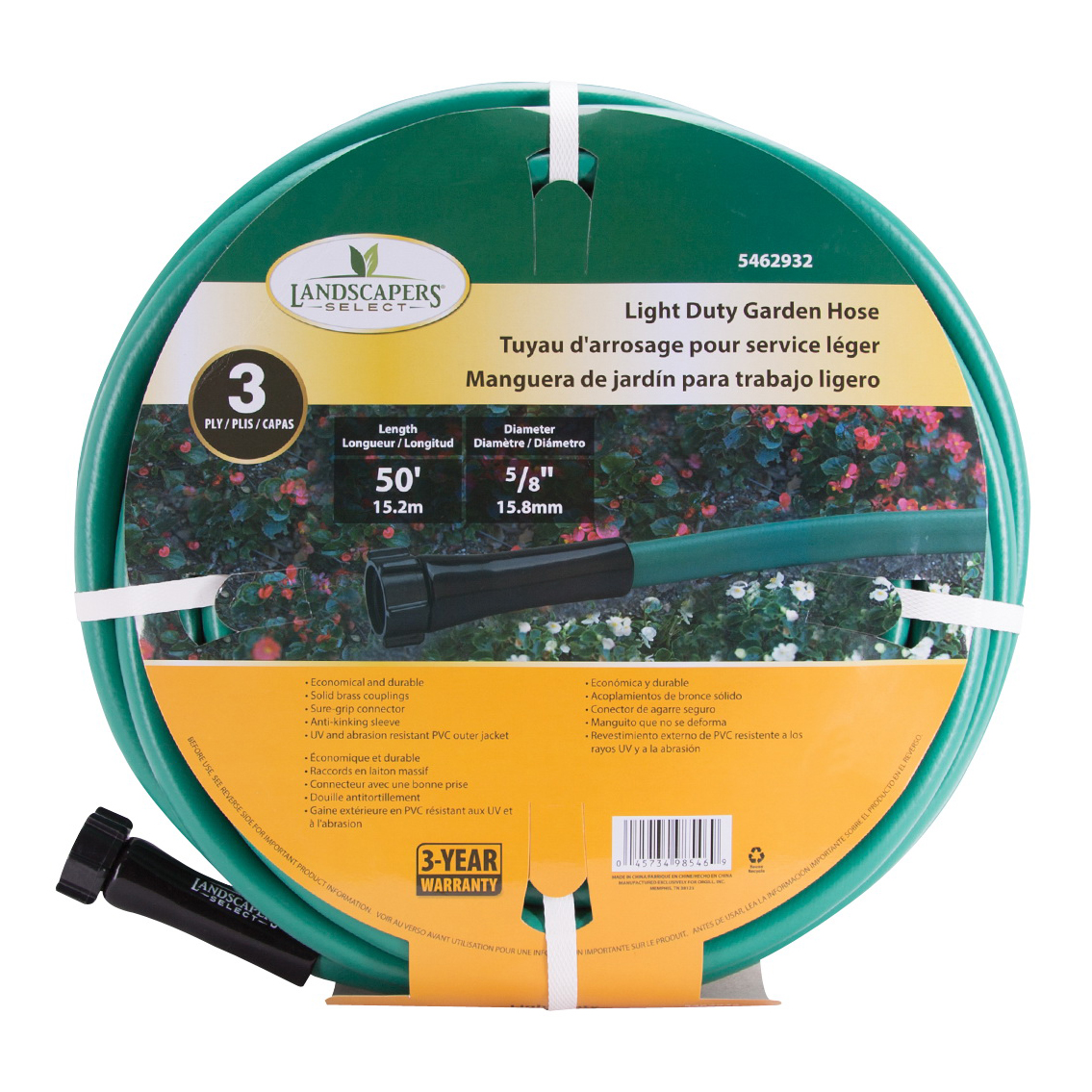 Picture of Landscapers Select GH-585023L Garden Hose, 50 ft L, Female x Male, PVC, Green