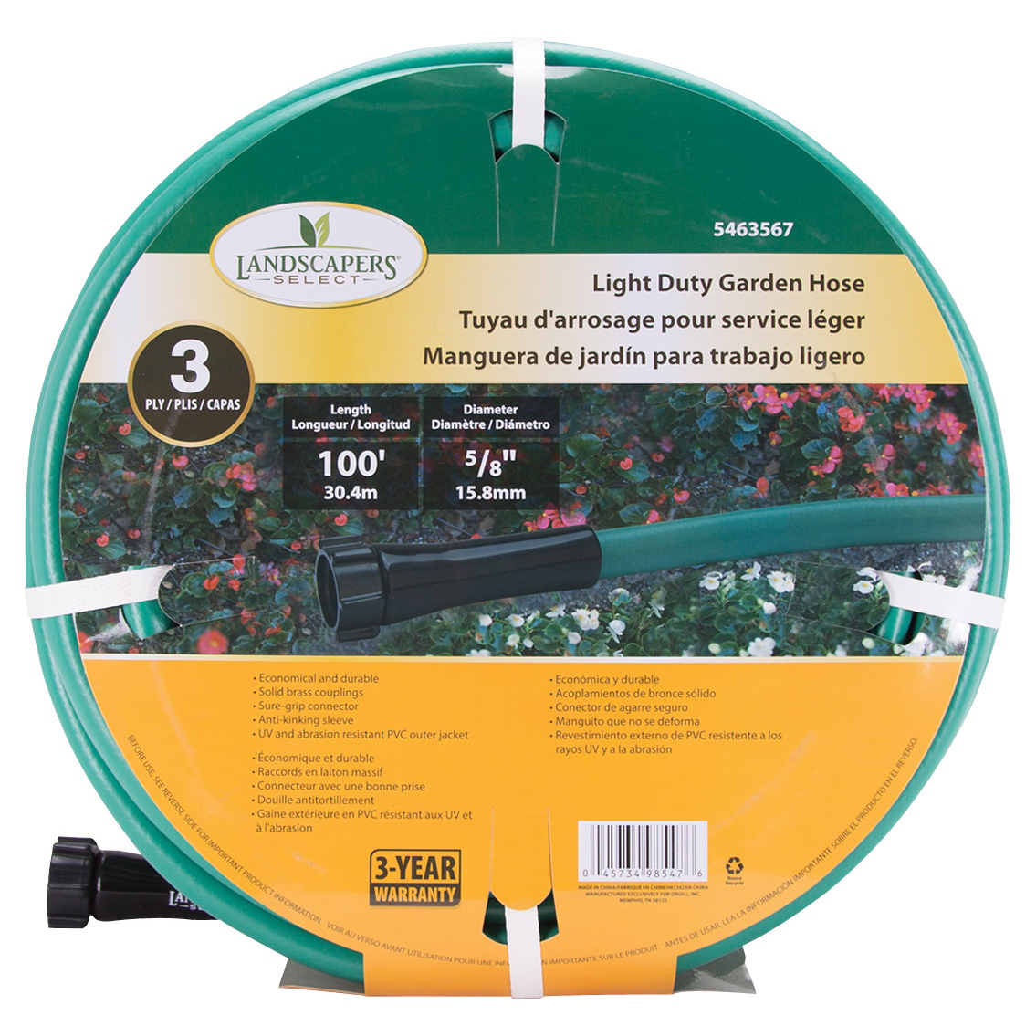 Picture of Landscapers Select GH-58503-1003L Garden Hose, 100 ft L, Female x Male, PVC, Green