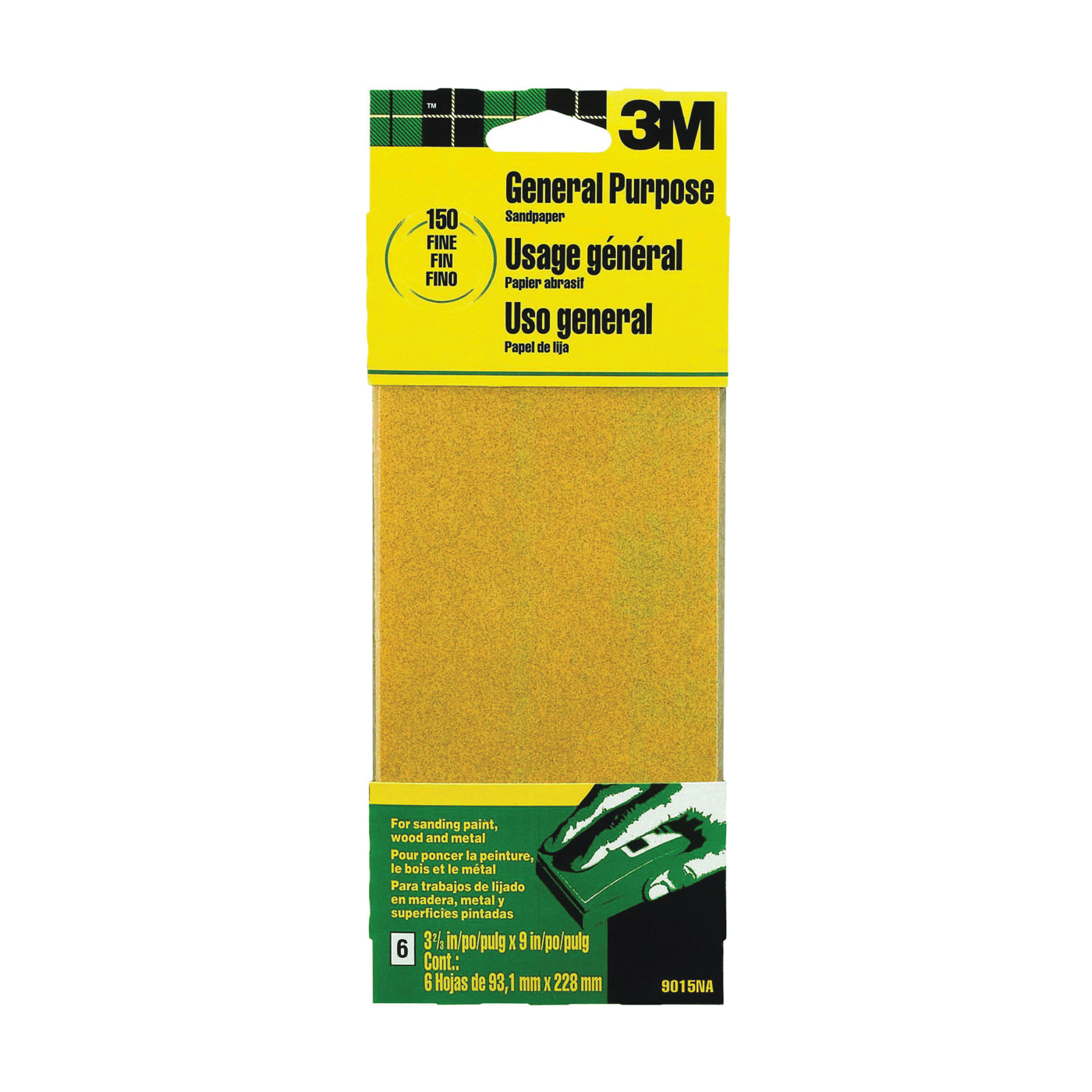 Picture of 3M 9015 Sanding Sheet, 9 in L, 3-2/3 in W, Fine, 150 Grit, Aluminum Oxide Abrasive, Paper Backing