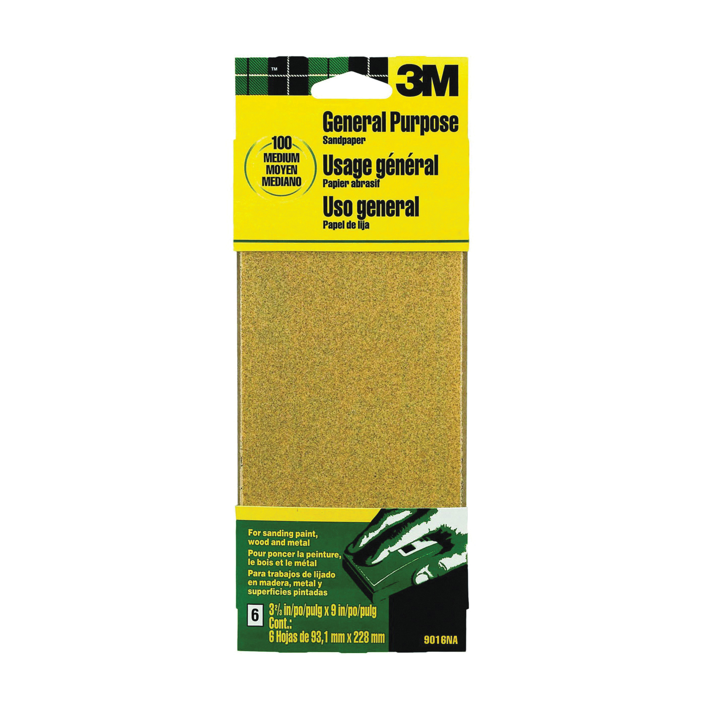 Picture of 3M 9016 Sanding Sheet, 9 in L, 3-2/3 in W, Medium, 100 Grit, Aluminum Oxide Abrasive, Paper Backing