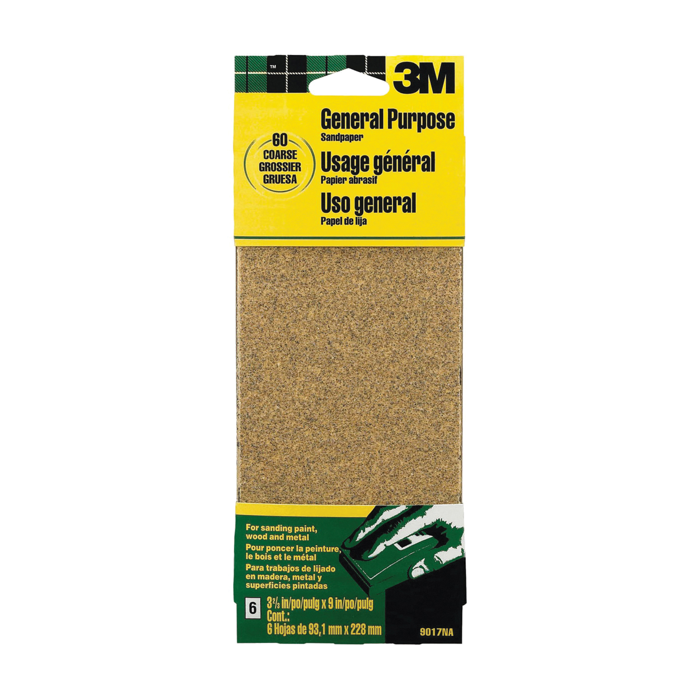 Picture of 3M 9017 Sanding Sheet, 9 in L, 3-2/3 in W, Coarse, 60 Grit, Aluminum Oxide Abrasive, Paper Backing