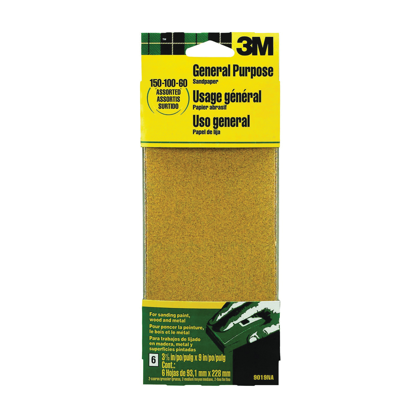 Picture of 3M 9019 Sanding Sheet, 9 in L, 3-2/3 in W, Aluminum Oxide Abrasive, Paper Backing